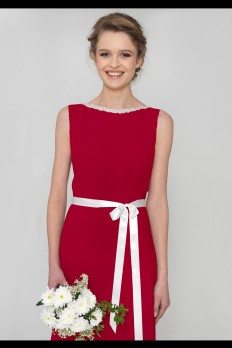 Red dresscode bridesmaid dress with beaded neckline