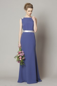 Aegan blue crepe bridesmaid dress
