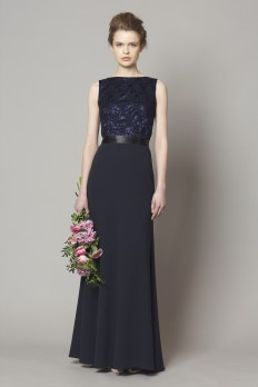 navy lace top bridesmaid dress front dresscode