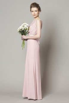pink lace top bridesmaid dress with crepe skirt from dresscode