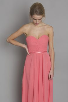 coral-strapless-bridesmaid-dress-dresscode